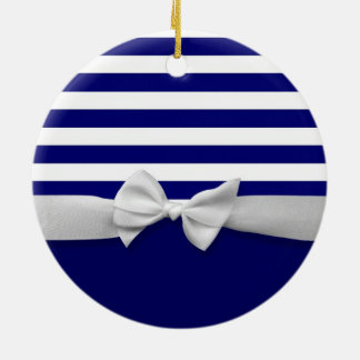 Nautical blue stripes & white ribbon bow graphic ceramic ornament
