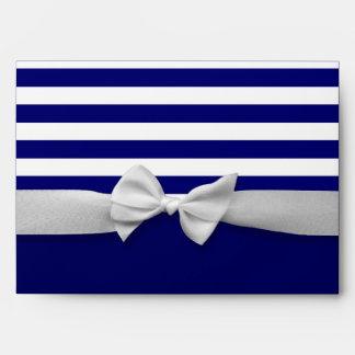 Nautical blue stripes & white ribbon bow graphic envelopes