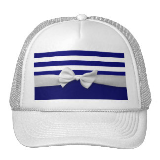 Nautical blue stripes & white ribbon bow graphic trucker hat