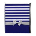 Nautical blue stripes & white ribbon bow graphic iPad case