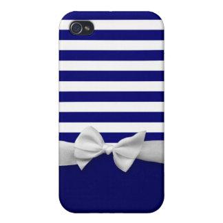 Nautical blue stripes & white ribbon bow graphic iPhone 4 case