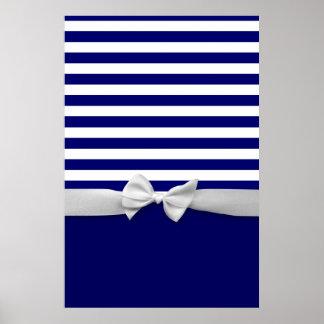 Nautical blue stripes & white ribbon bow graphic poster