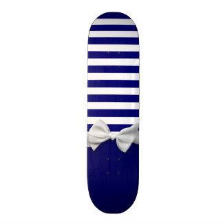 Nautical blue stripes & white ribbon bow graphic skate board decks