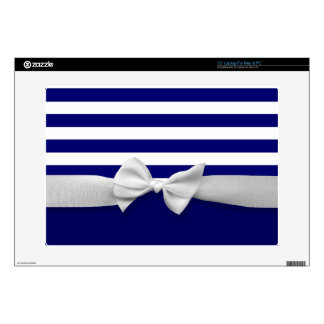 Nautical blue stripes & white ribbon bow graphic skins for laptops