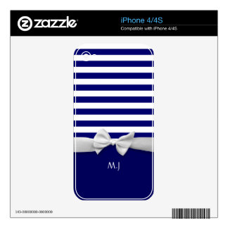 Nautical blue stripes & white ribbon bow graphic skin for iPhone 4S