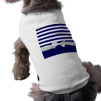 Nautical blue stripes & white ribbon bow graphic tee