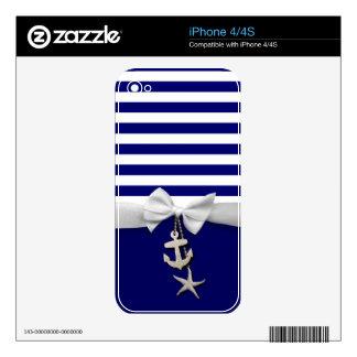 Nautical blue stripes & white ribbon graphic iPhone 4S skin
