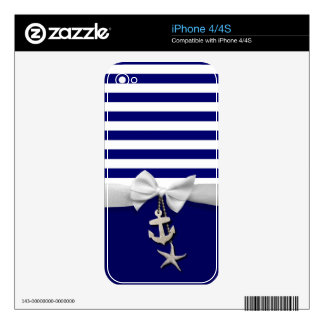 Nautical blue stripes & white ribbon graphic skins for iPhone 4