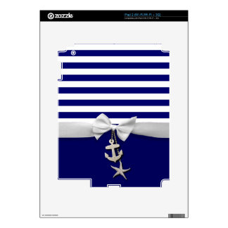 Nautical blue stripes & white ribbon graphic decals for iPad 2