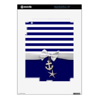 Nautical blue stripes & white ribbon graphic skin for the iPad 2