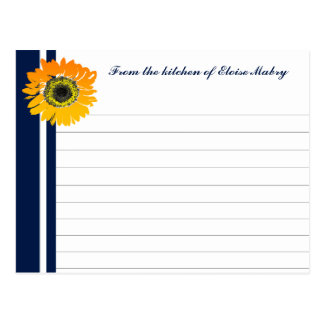 Nautical Blue Sunflower Personalized Recipe Cards