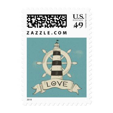 Beach Themed Nautical Blue Teal Lighthouse & Ship Anchor Sailor Postage