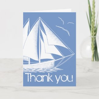 Nautical blue Thank you card