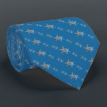 """Nautical Blue Tiny Starfish Diagonal Print Tie<br><div class=""""desc"""">Tiny starfish diagonal pattern blue tie.  Dark blue color with small starfish print in lighter blue and brown.</div>"""