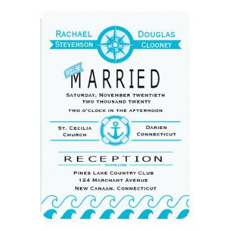 Nautical Blue Turquoise Anchor, Beach Wedding Card