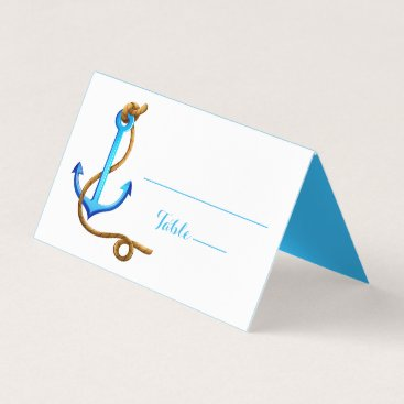 Beach Themed Nautical Blue Turquoise Anchor Wedding Party Place Card