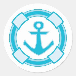 Nautical Blue Turquoise Ship Anchor Wedding Classic Round Sticker
