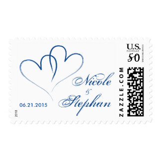 Nautical Blue Two hearts intertwined Wedding Postage