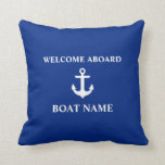 "Nautical Blue Welcome Aboard Boat Name Blue Throw Pillow<br><div class=""desc"">Nautical Blue Welcome Aboard Boat Name Blue Throw Pillow</div>"