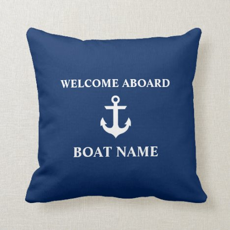 Nautical Blue Welcome Aboard Boat Name Navy Blue Throw Pillow