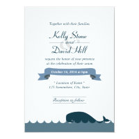 Nautical Blue Whale & Waves Wedding Invitations