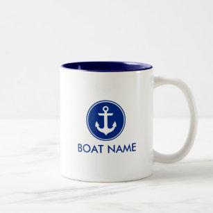edc9aa93382 Nautical Blue White Anchor Boat Name Mug WB