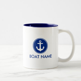 Nautical Blue White Anchor Boat Name Mug WB