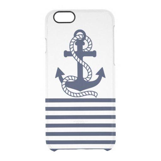 Nautical Blue/White Anchor Clear iPhone 6/6s Case