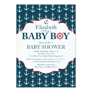 Nautical Blue & White Anchors Boys Baby Shower Personalized Invites