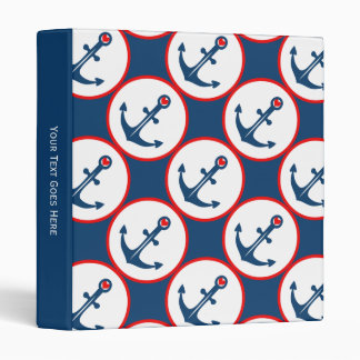 Nautical Blue White And Red Anchor With Red Heart 3 Ring Binder