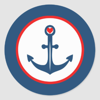 Nautical Blue White And Red Anchor With Red Heart Classic Round Sticker