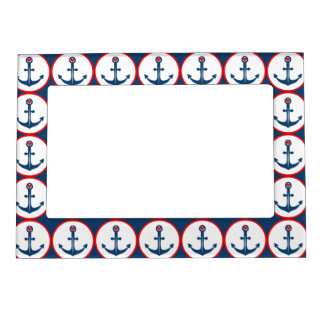 Nautical Blue White And Red Anchor With Red Heart Magnetic Picture Frame