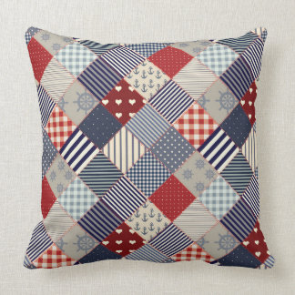 Nautical Blue White and Red Patchwork Pillow