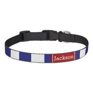 Nautical Blue White Bold Stripe With Red Pet Collar