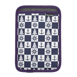 Nautical blue white checkered sleeve for iPad mini