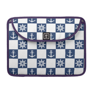 Nautical blue white checkered sleeve for MacBooks