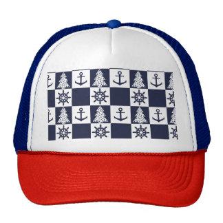 Nautical blue white checkered trucker hat