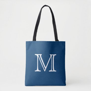 Beach Themed Nautical Blue White Monogram Tote Bag