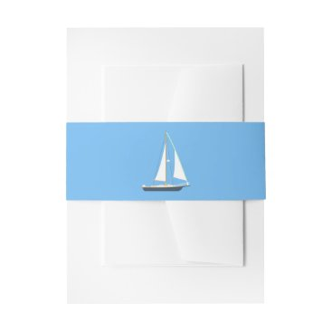 Beach Themed Nautical Blue & White Sailboat Ocean Beach Wedding Invitation Belly Band