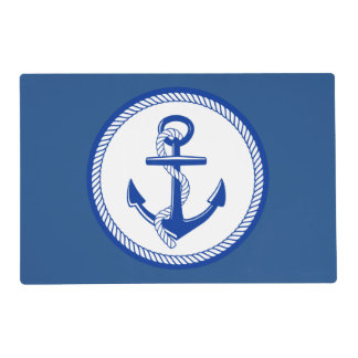 Nautical Blue White Ship Anchor Classic Boat Theme Laminated Placemat