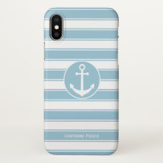 Nautical Blue & White Stripe   Anchor Personalized iPhone X Case