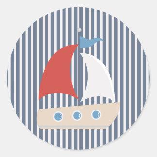 Nautical Blue White Stripe and Boat Sticker Round Sticker