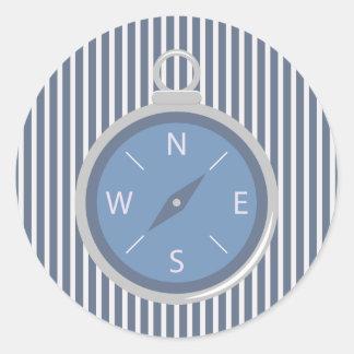 Nautical Blue White Stripe and Compass Sticker Round Sticker