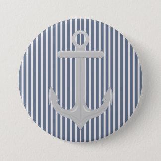 Nautical Blue White Stripes and Anchor  Button