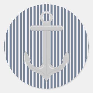 Nautical Blue White Stripes and Anchor Sticker Round Sticker