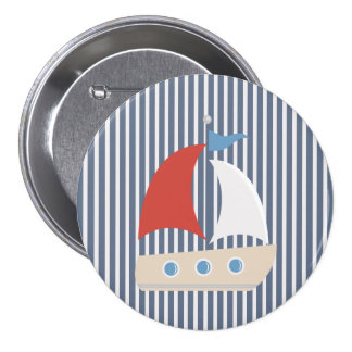 Nautical Blue White Stripes and Boat Button