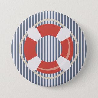 Nautical Blue White Stripes and Life Buoy  Button