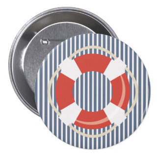 Nautical Blue White Stripes and Life Buoy  Button