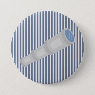 Nautical Blue White Stripes and Telescope Button