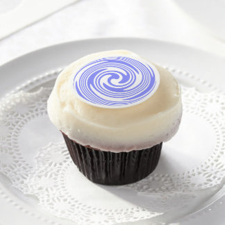 Nautical Blue, White Swirls Edible Frosting Rounds